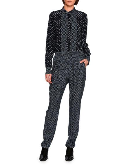 Tie-Print Jogger Pants, Black Pattern
