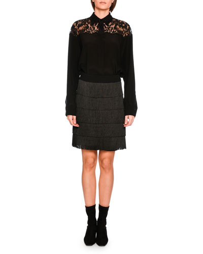 Tiered Fringe Mini Skirt, Black and Matching Items