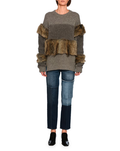 Faux-Fur Paneled Sweater, Gray and Matching Items