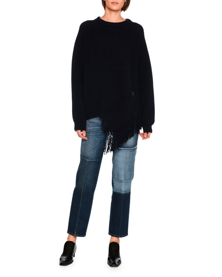 High-Waist Patchwork Skinny Jeans, Blue
