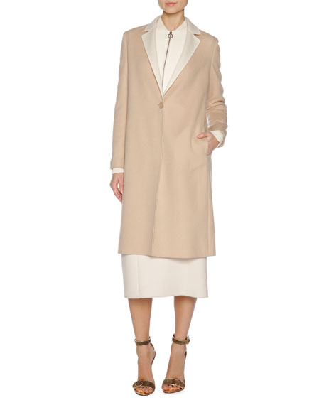Double-Face Cashmere Coat, Brown/White
