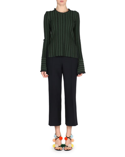 Cropped Wool/Silk Wide-Leg Pants and Matching Items