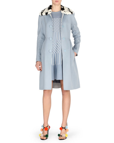 Double-Face Wool Coat w/Jacquard Mink Collar, Blue Pattern and Matching Items