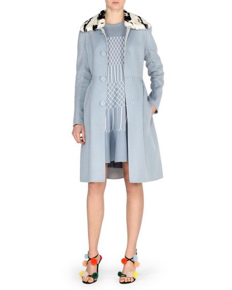 Double-Face Wool Coat w/Jacquard Mink Collar, Blue Pattern