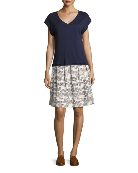 Jupe Pleated A-line Skirt, White