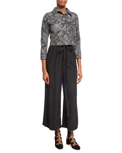 High-Waist Tie-Front Pants, Black and Matching Items