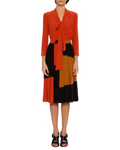 Pleated Colorblock Crepe de Chine Skirt, Multi and Matching Items