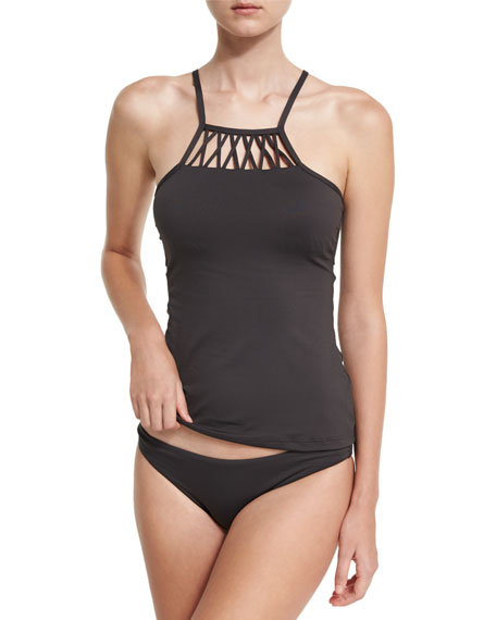 High-Neck Tankini Swim Top, Black