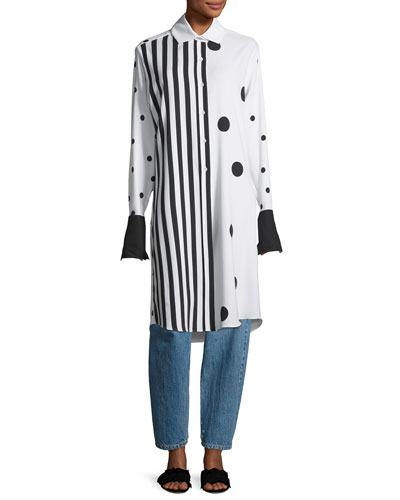 Long Striped Polka Dot Combo Blouse and Matching Items