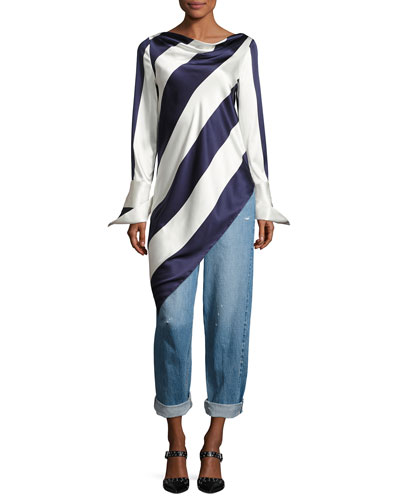 Long-Sleeve Asymmetric Striped Top, Blue Pattern and Matching Items