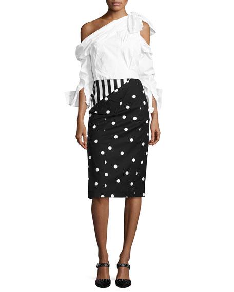 Striped Dot Combo Pencil Skirt, Black/White