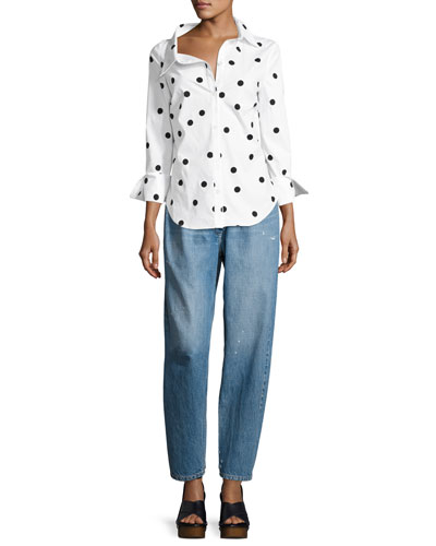 Polka Dot Stretch-Cotton Blouse, White/Black and Matching Items