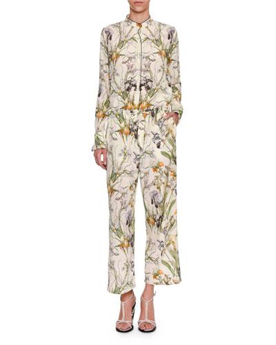 Iris-Print Crepe de Chine Drawstring Pants, Ivory and Matching Items