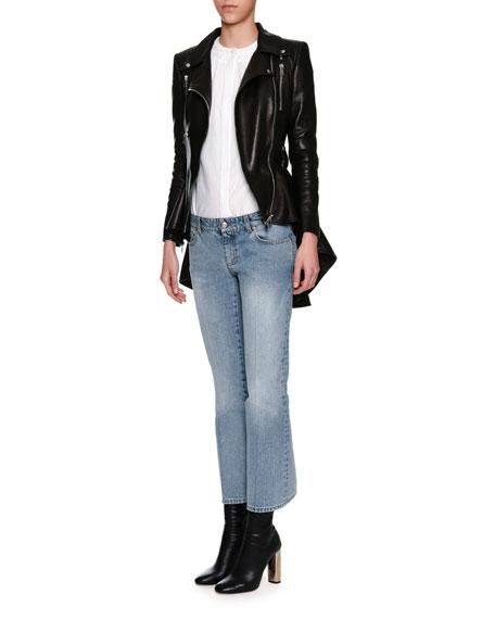 Leather Moto Peplum Jacket, Black