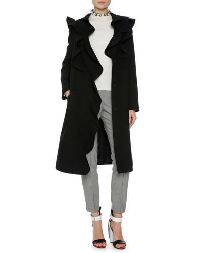 Long Ruffled Coat, Black and Matching Items