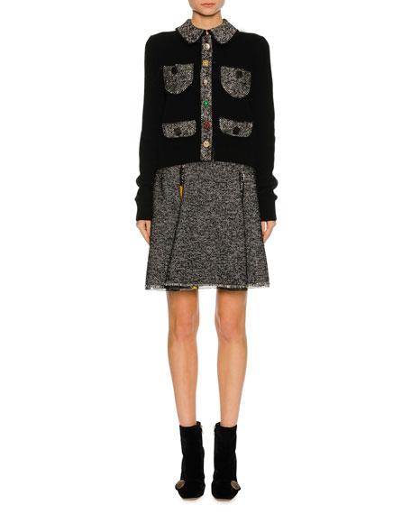 Chiffon-Trim Tweed Skirt, Gray
