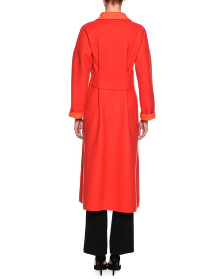 Double Face Two Tone Coat, Red