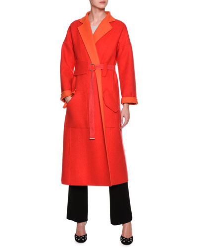 Double Face Two Tone Coat, Red and Matching Items
