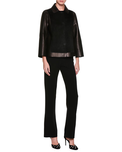 Washed Silk Cady Classic Pants, Black and Matching Items