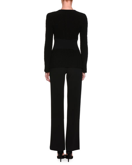 Washed Silk Cady Classic Pants, Black