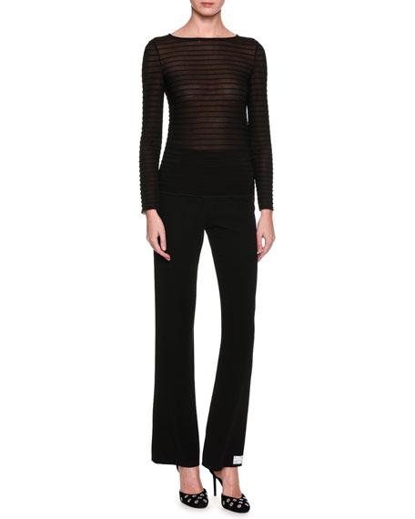Long-Sleeve Ribbed Top, Black