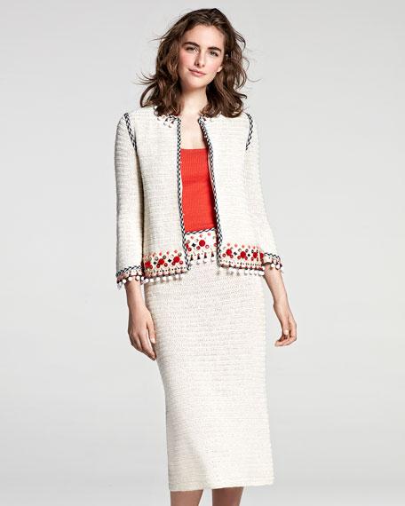 Pompom-Embellished Linen Jacket, Beige
