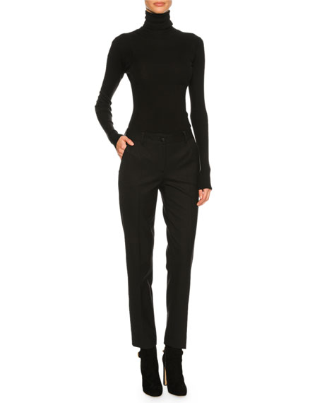 Cashmere-Blend Turtleneck Sweater, Black