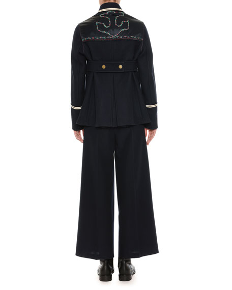 Embroidered Caban Coat, Navy
