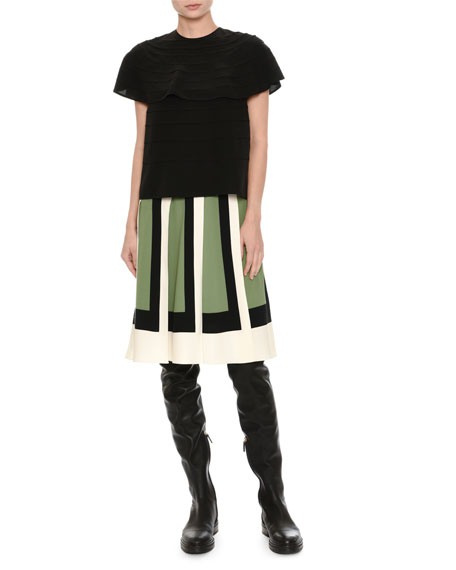 Short-Sleeve Pleated Silk Top, Black