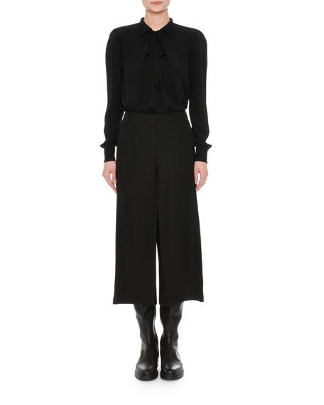 Long-Sleeve Georgette Blouse, Black