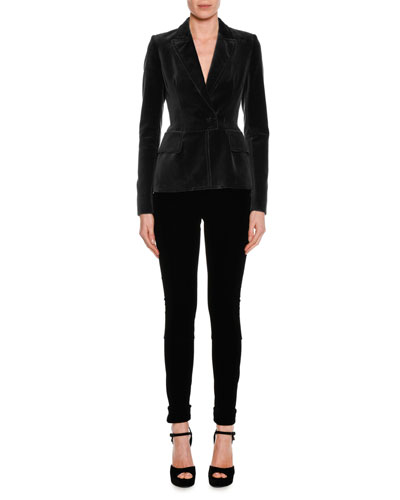 Fitted Velvet Tuxedo Jacket, Black and Matching Items