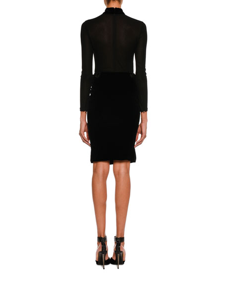 Stretch-Velvet Pencil Skirt, Black