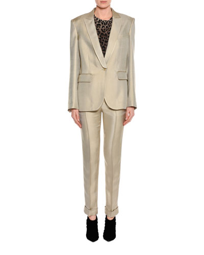 Shiny Viscose Cropped Pants, Gray and Matching Items