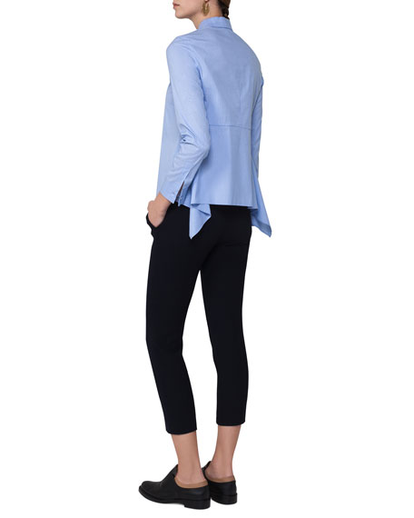 Frankie Cropped Stretch-Wool Pants, Navy
