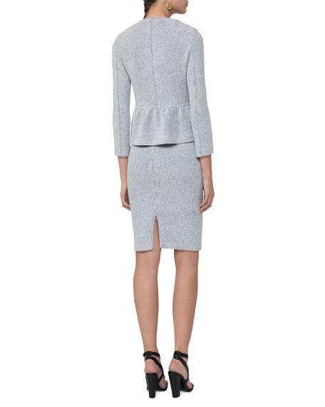 Knitted Tweed Zip-Front Jacket, Multi Pattern