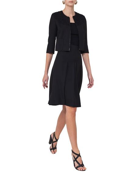 High-Waist Pleated A-Line Skirt, Black