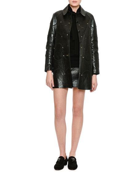 Scalloped Rockstud Leather Coat, Black