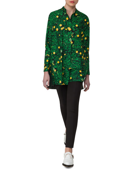 Buttercup-Print Voile Tunic, Forest