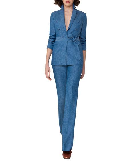Belted Herringbone Linen Jacket, Light Blue