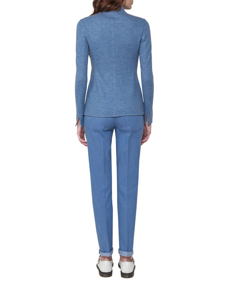 Cashmere-Silk Double-Layer Long-Sleeve T-Shirt