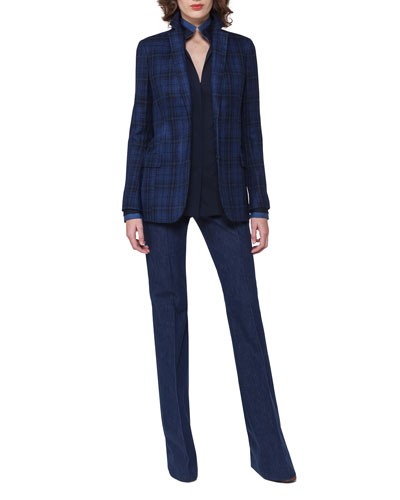 Plaid Sateen Two-Button Jacket, Dark Blue and Matching Items