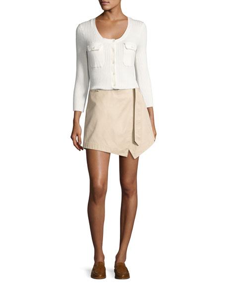 Rib Patch Pocket Cotton Sweater, Off White