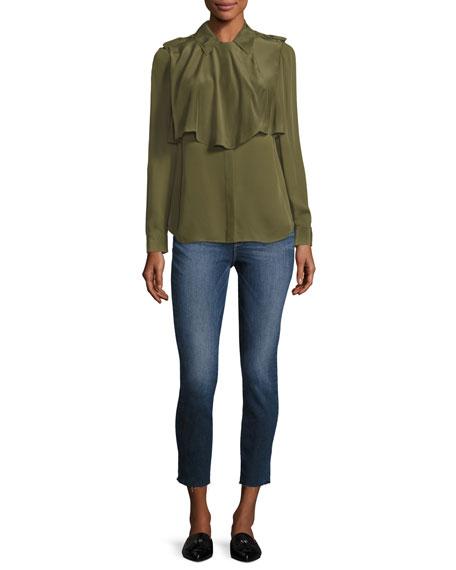 Mixed Military Long Sleeve Silk Shirt, Dark Green