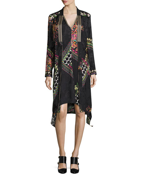 Floral-Print Satin Topper Jacket, Black Pattern