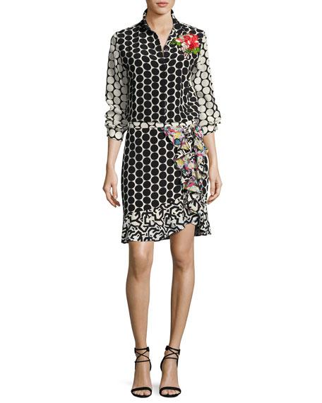 Floral-Embroidered Silk Dot Blouse, Black