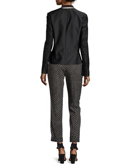 Zip-Front Eyelet Jacket, Black Pattern