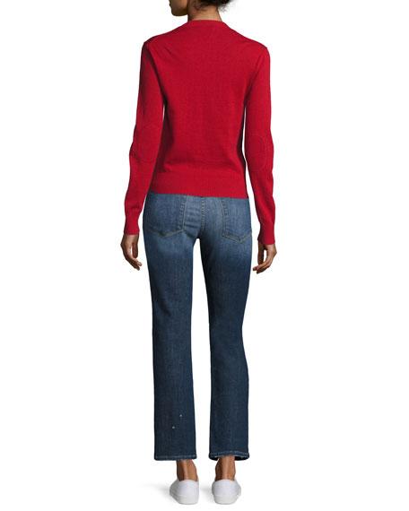 Waffle Crewneck Long-Sleeve Sweater, Red