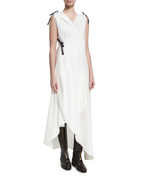 Sleeveless Cotton Tuxedo Midi Dress, White
