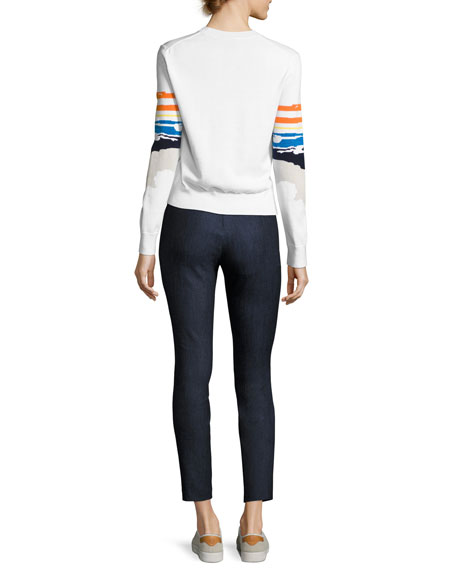 Nicki Graphic Pullover Sweater, White