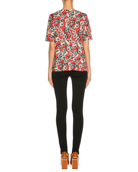 Short-Sleeve Floral-Print Top, Red